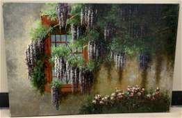 Signed Oil Painting of a Cottage Window W Flowers