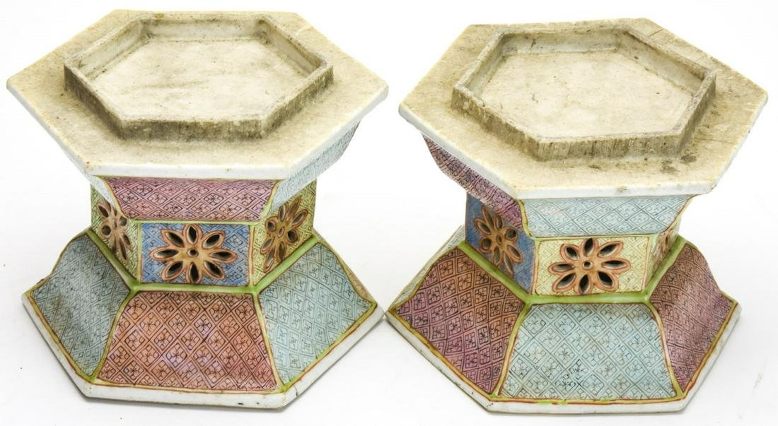 Pair Antique Chinese Porcelain Lamp Bases