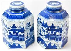 Pair Chinese Canton Blue  White Store Tea Caddies