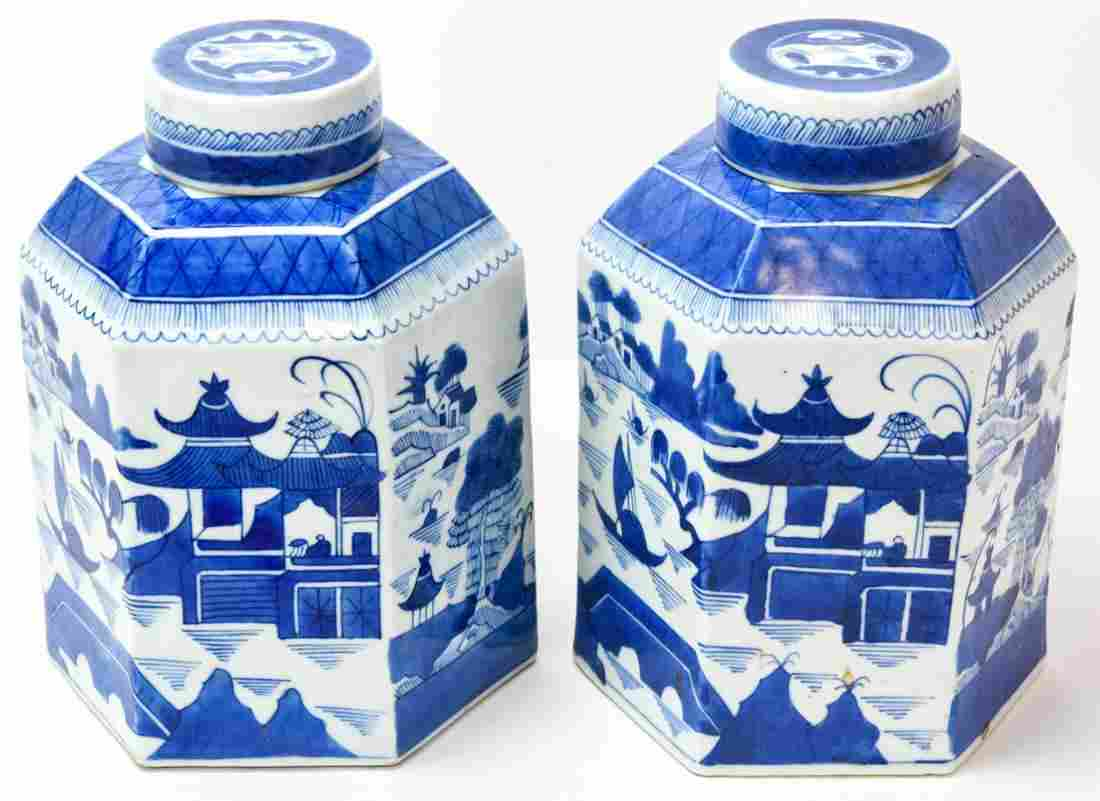 Pair Chinese Canton Blue & White Store Tea Caddies
