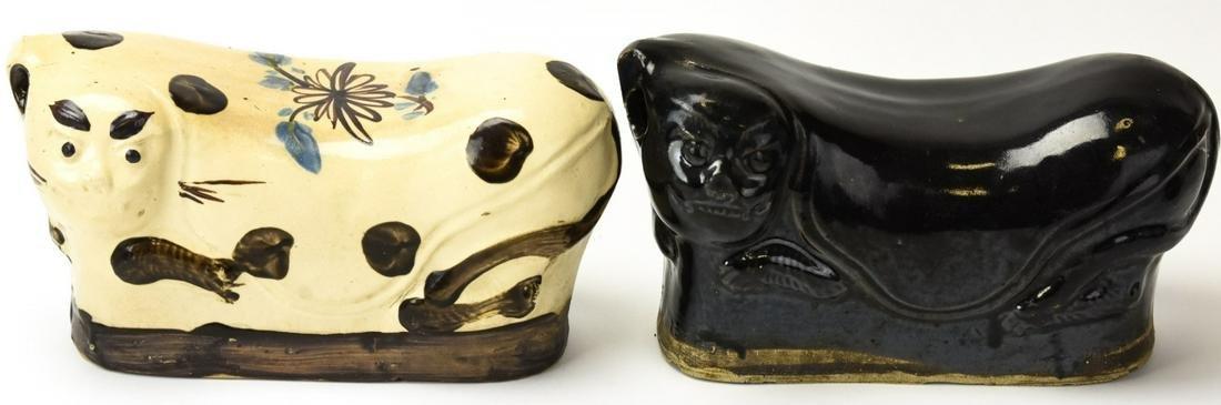 Pair Chinese Porcelain Figural Foo Lion Pillows