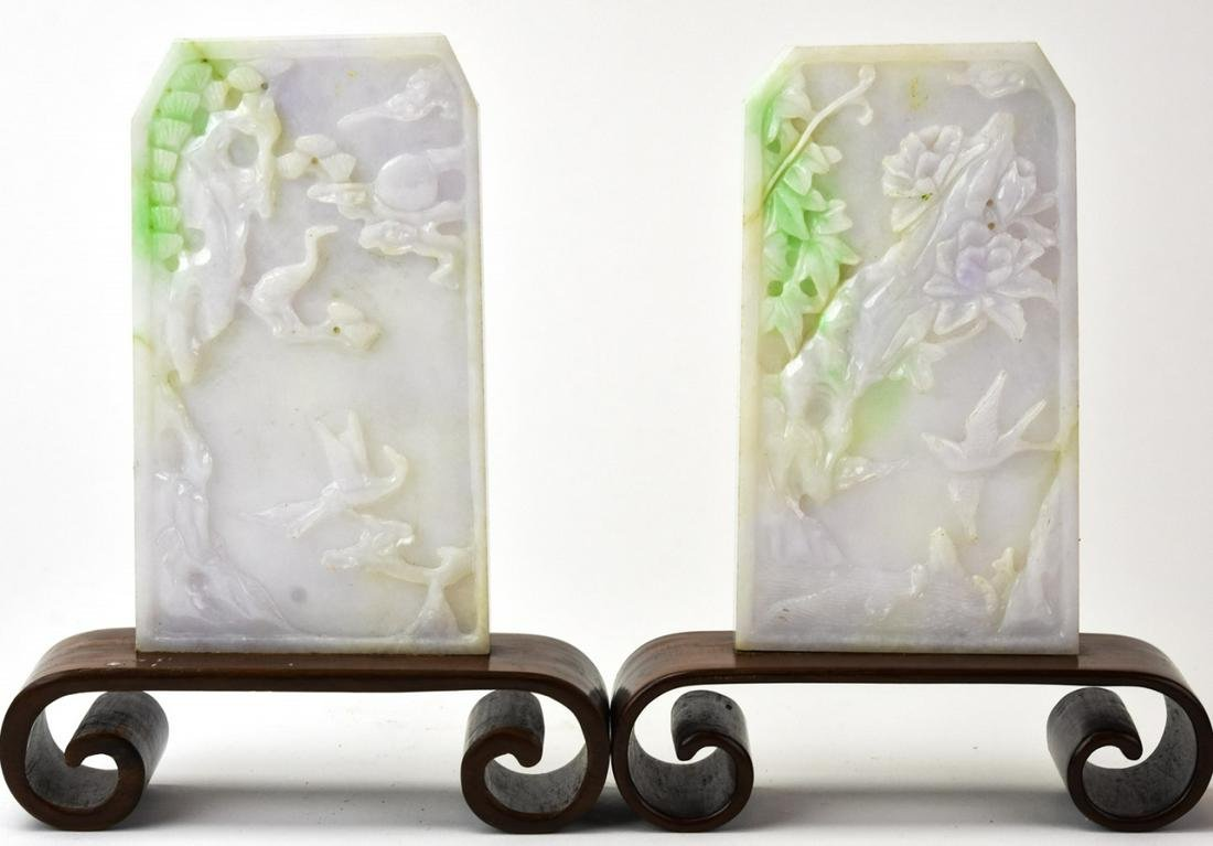 Antique 19th C Chinese White Jade Table Screens