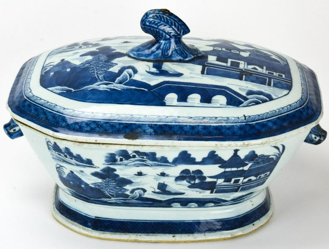 Chinese Blue & White Canton Porcelain Tureen