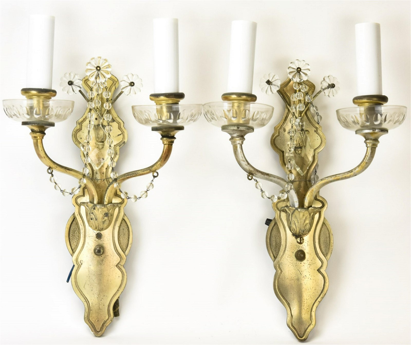 Pair Vintage Pewter Toned Double Arm Wall Sconces