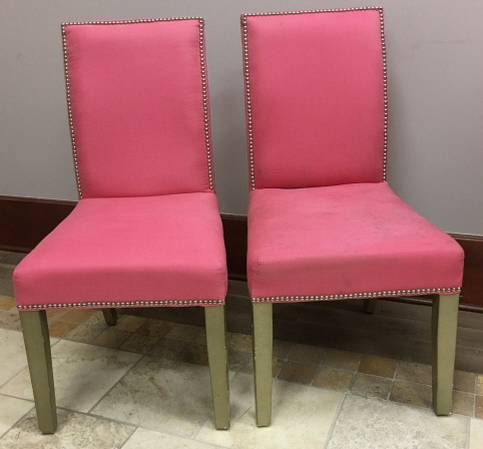 2 Parsons Style Fabric Upholstered Side Chairs