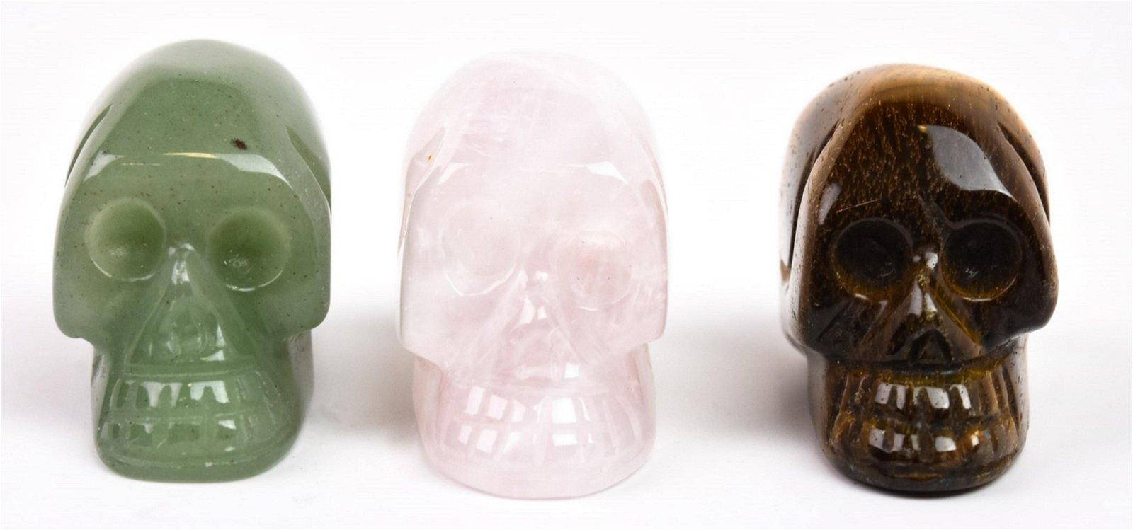 Set of 3 Hand Carved Hardstone Human Skulls