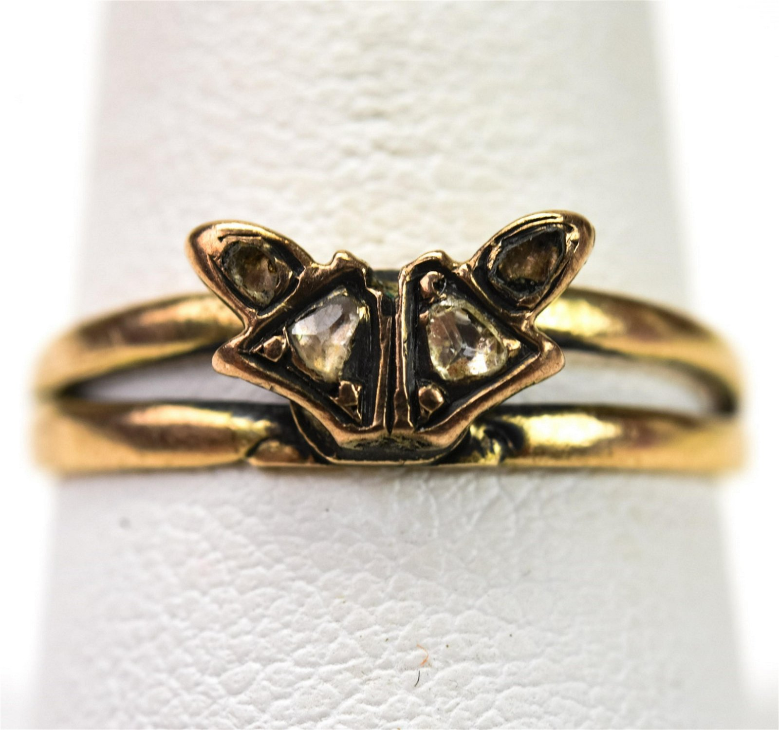 Antique Georgian 14k Gold & Rose Cut Diamond Ring