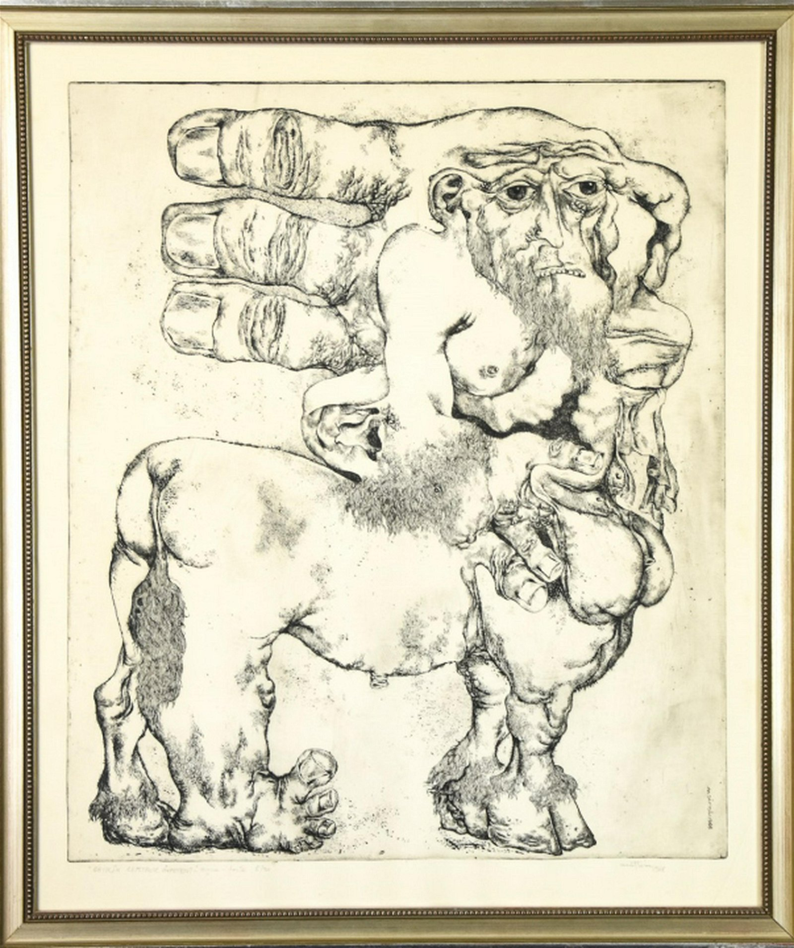 "Nicolae Saftoiu Framed Etching ""Centaur Impotent"""