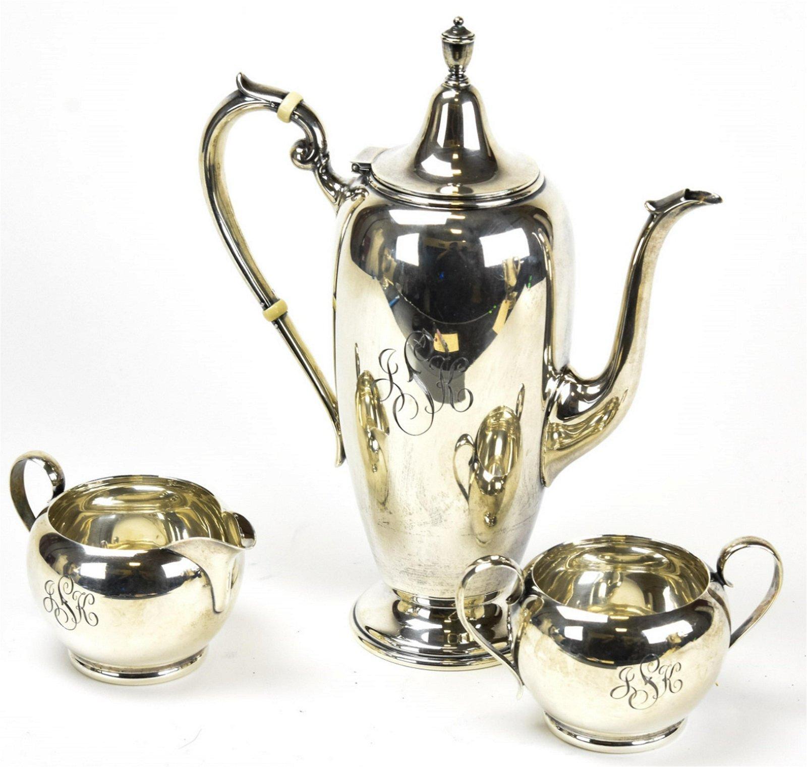 Three Piece Antique Gorham Sterling Silver Tea Set