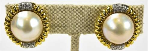 Estate Pair 14kt Gold Pearl & Diamond Earrings