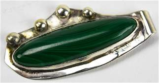Sterling Silver  Malachite Necklace Pendant
