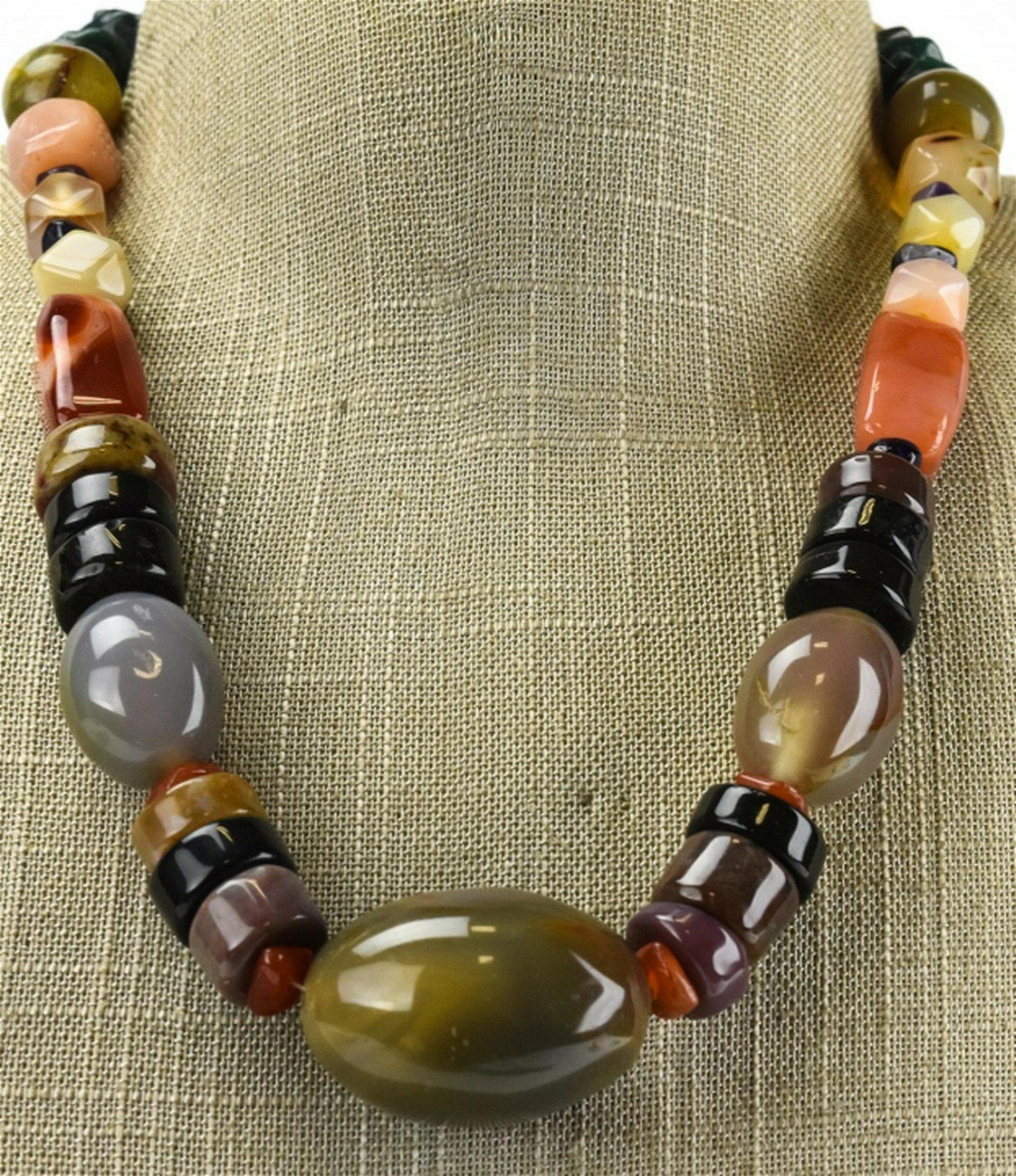 Estate Specimen Agate & Carved Bone Necklace