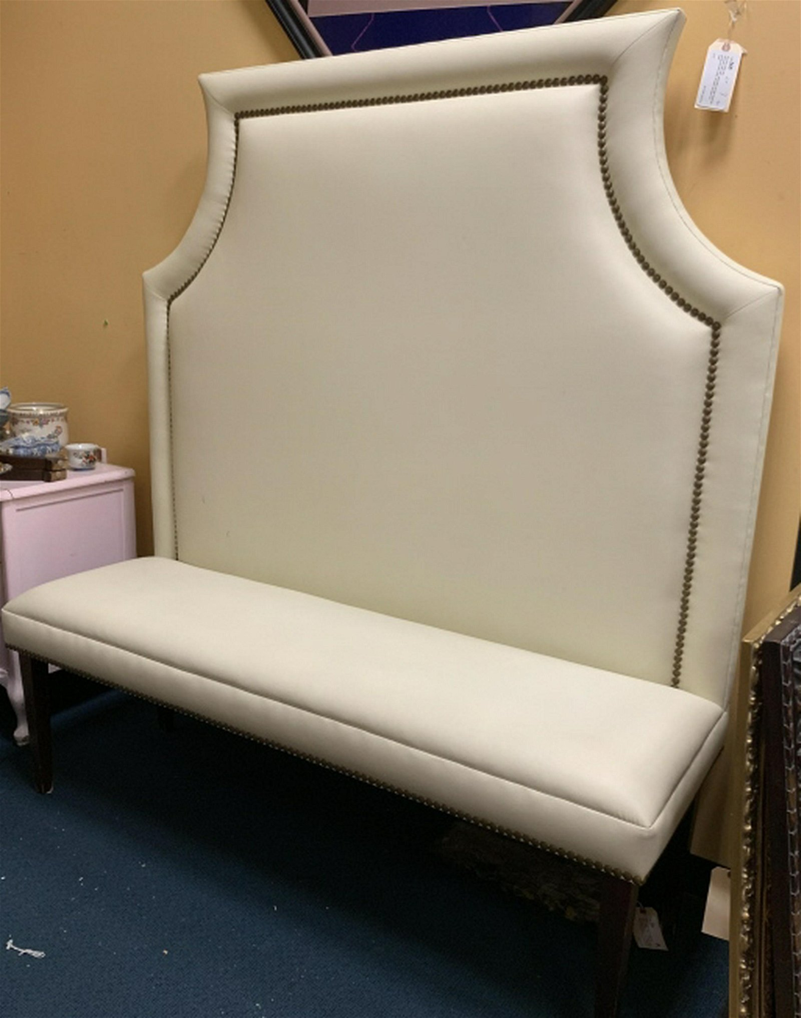 Contemporary White Leather High Back Settee