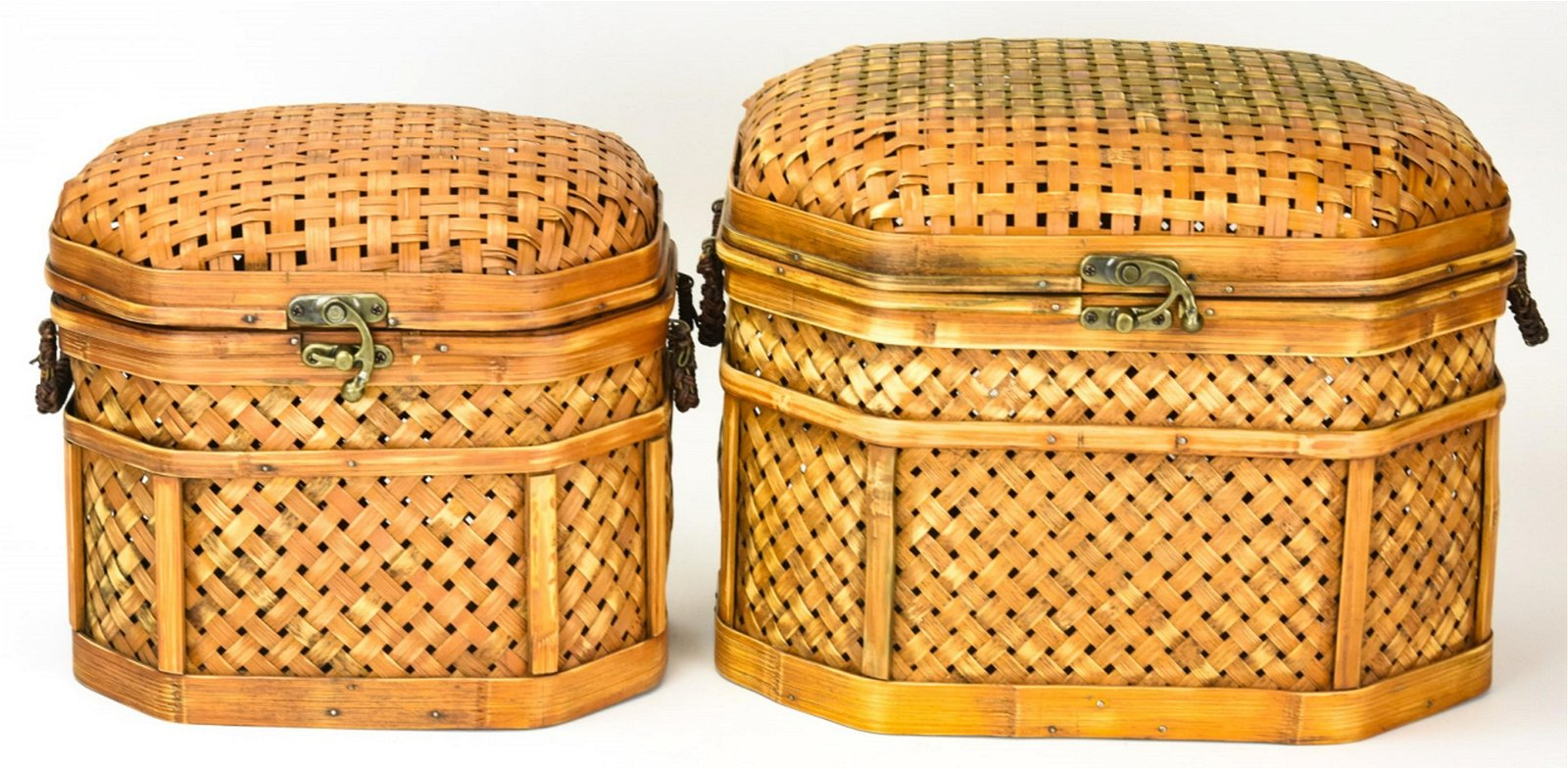 2 Wicker Domed Top Storage Boxes