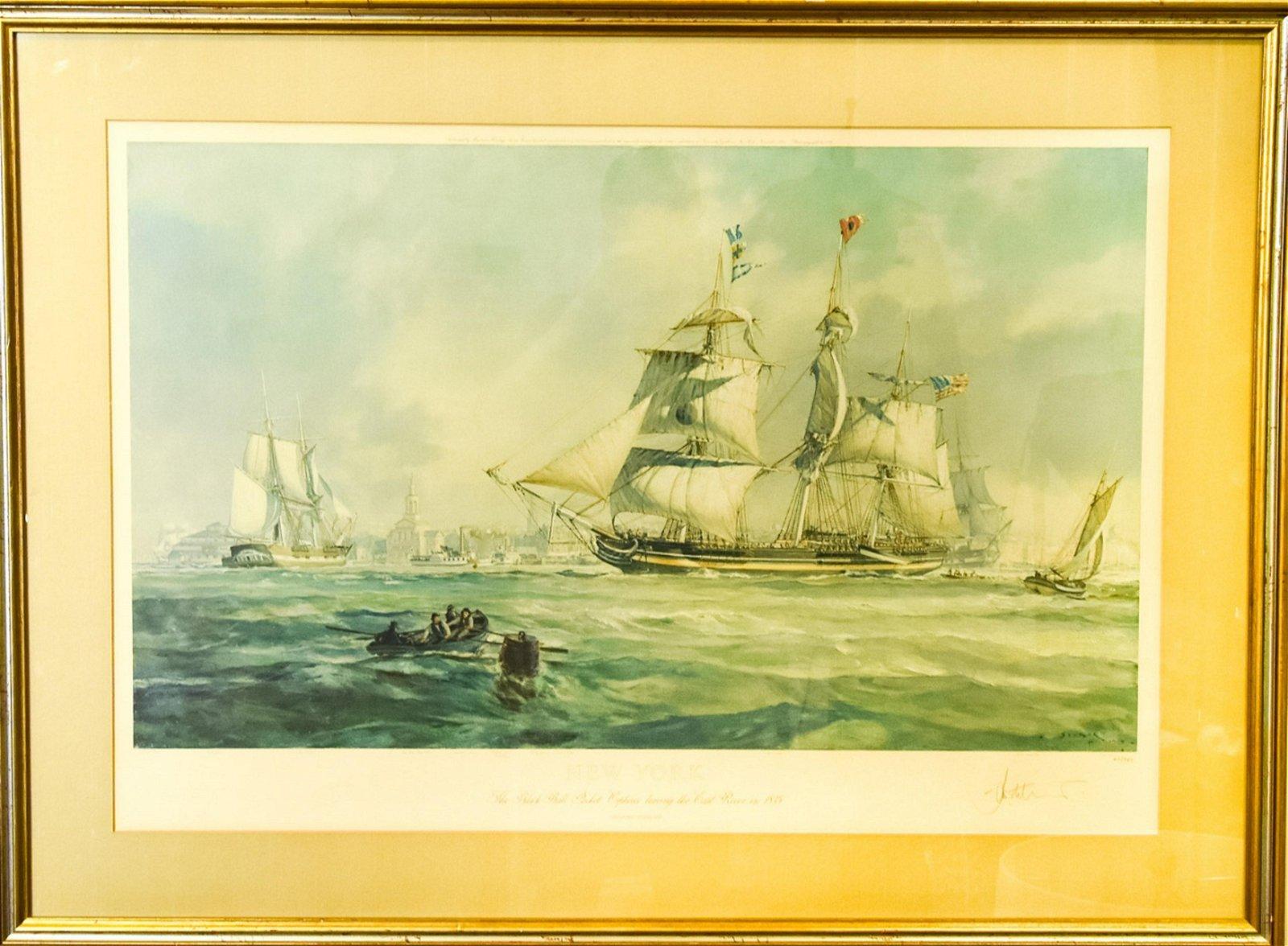 """John Stobart """"Orpheus Leaving East River"""", Signed"""