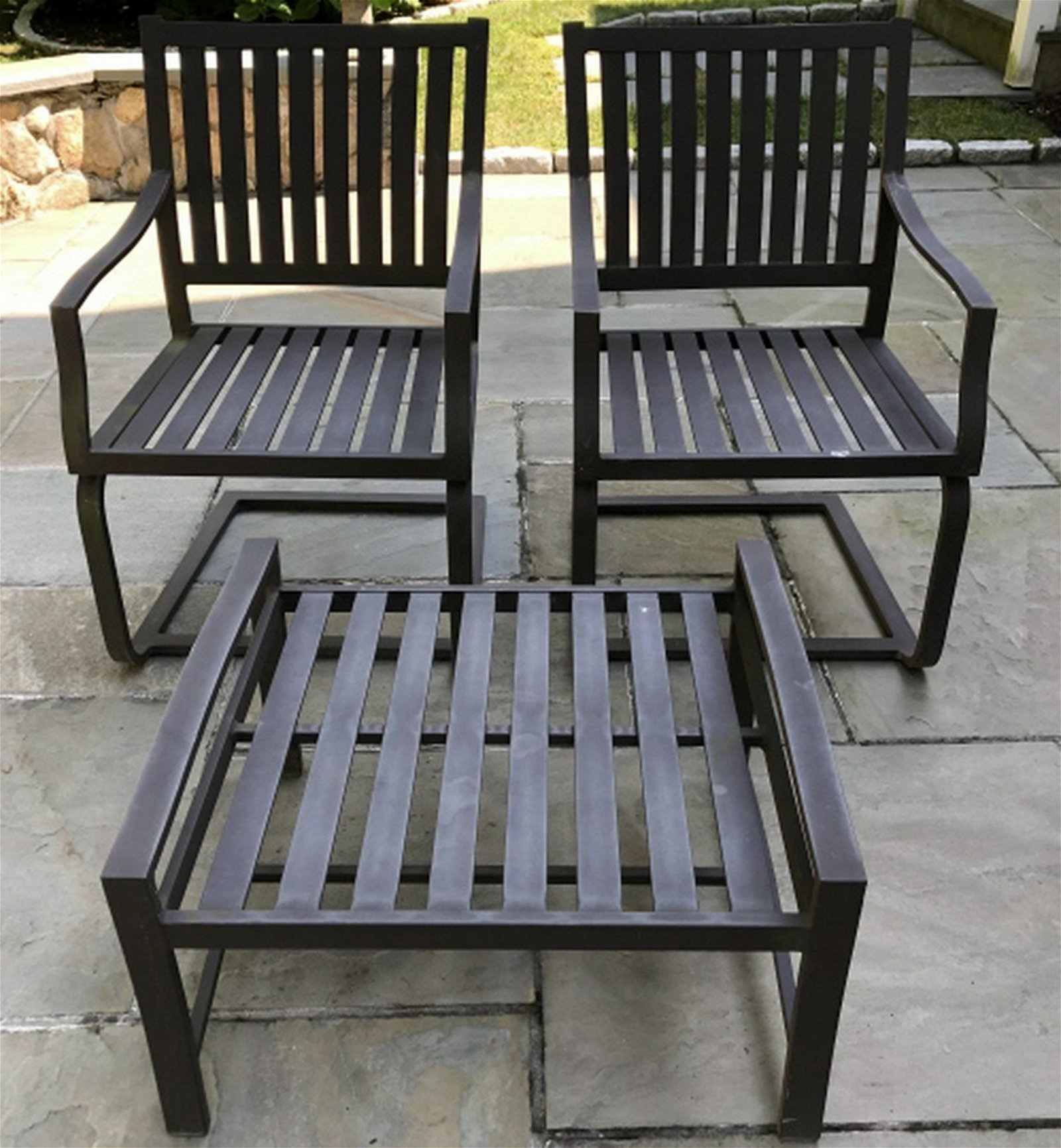 Pair Outdoor Metal Chairs and Ottoman