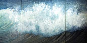 """Rosamond Berg """"New England Wave"""" Triptych Painting"""