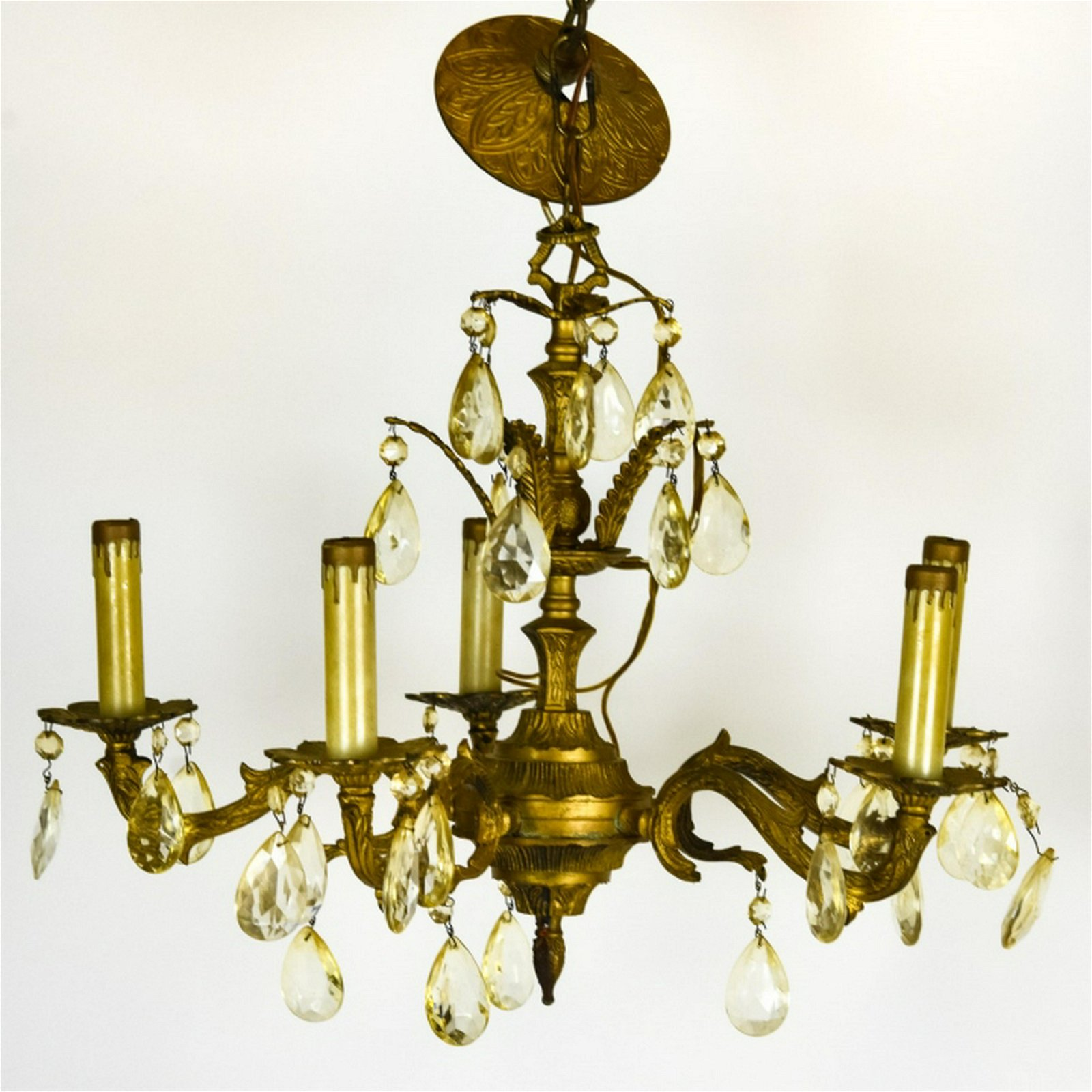 French Empire Style 5 Arm Brass Chandelier
