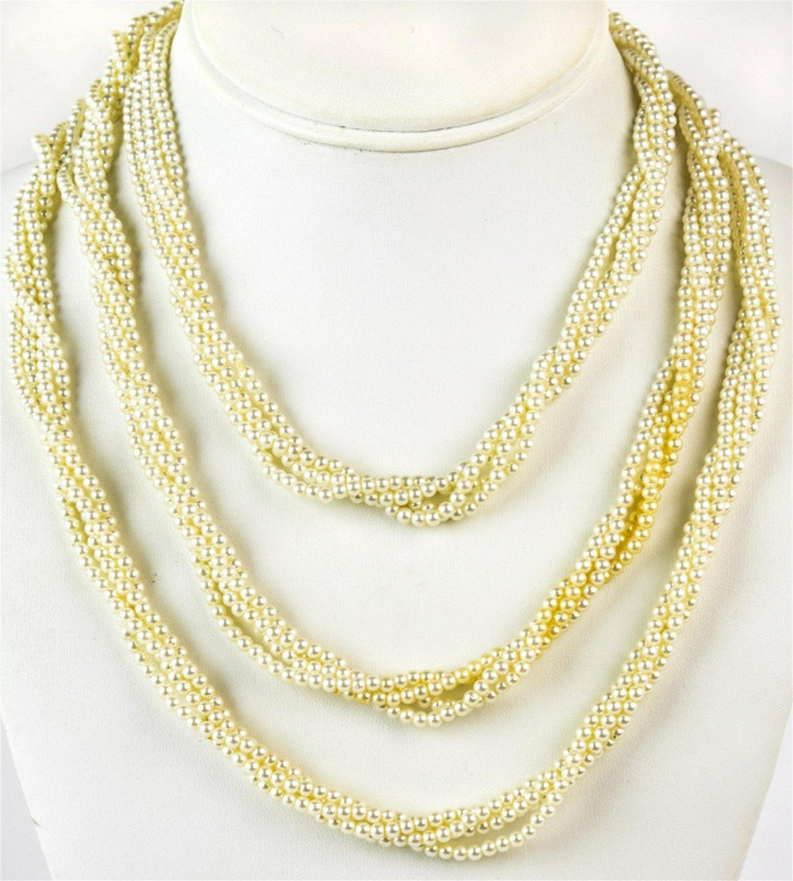 Antique Four Strand Faux Pearl Necklace
