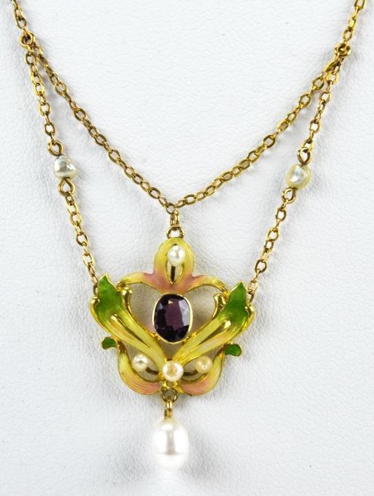 Antique 14k Yellow Gold Art Nouveau Pearl Necklace