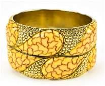 1940s Carved Bakelite Clad Bangle Bracelet