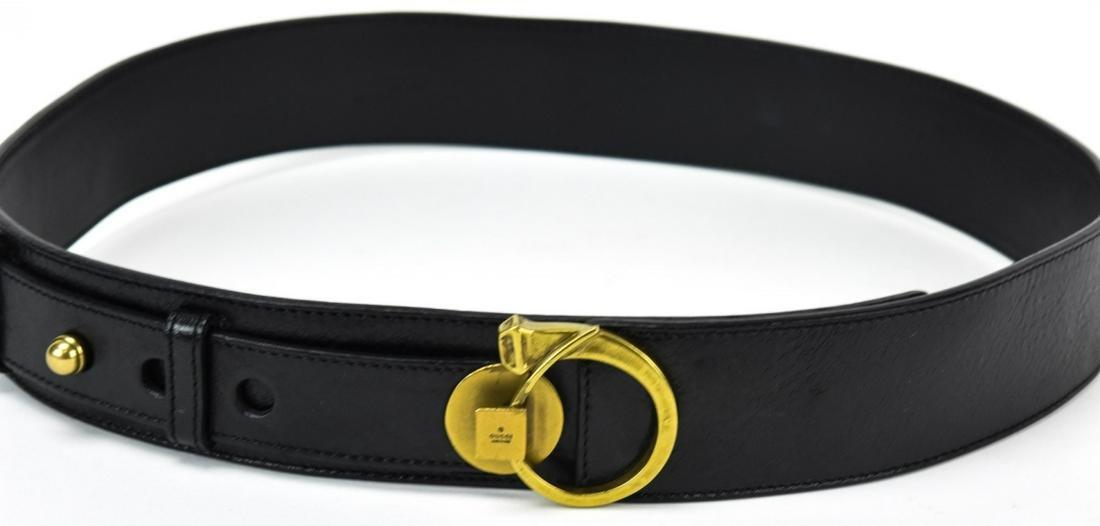 Vintage Gucci Black Leather & Brass Belt