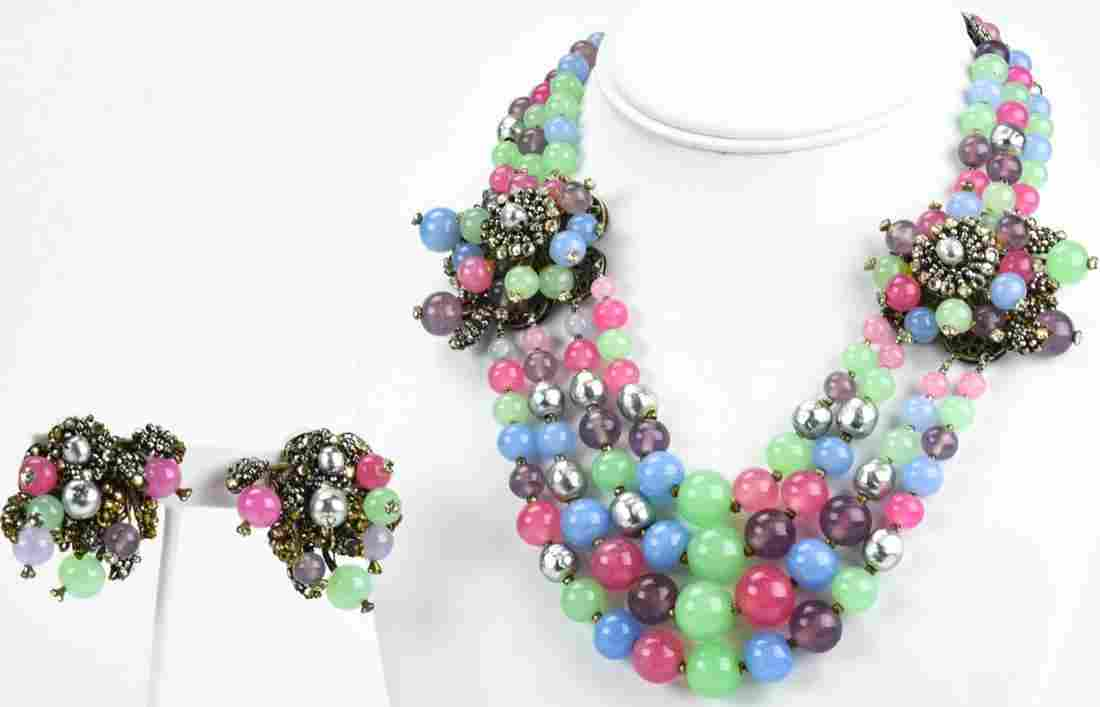 Vintage Miriam Haskell C 1950s Jewelry Suite