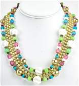 Vintage Miriam Haskell C 1960 Five Strand Necklace