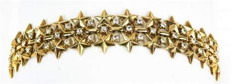 Vintage 1950s Trifari Rhinestone Star Bracelet