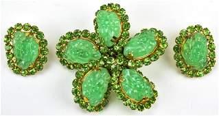 Vintage 1960s Jade Glass Jewelry Suite