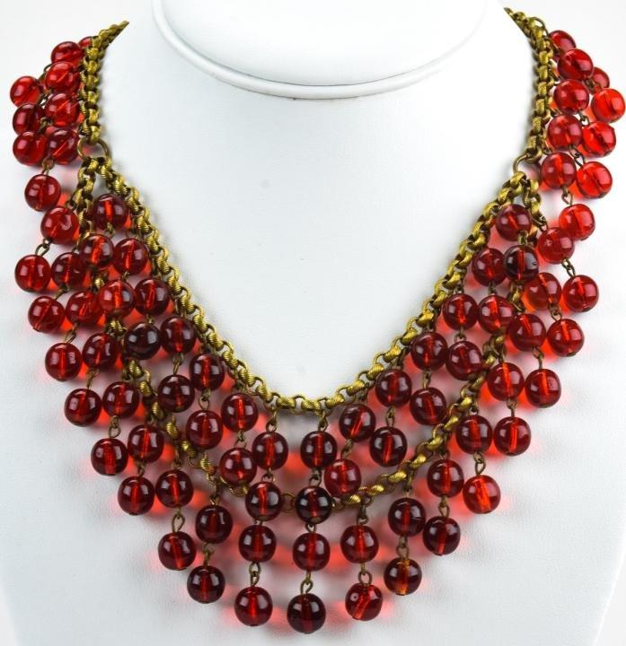 Vintage 1930s Red Glass Festoon Necklace