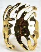 Vintage Gilt Metal Abstract Leaf Cuff Bracelet
