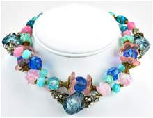 Vintage Miriam Haskell 1960s Art Glass Necklace