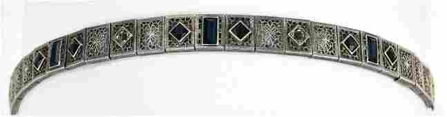 Antique C 1920 Art Deco Sterling Panel Bracelet