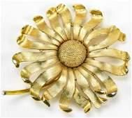 Large Vintage Trifari Gilt Metal Flower Brooch