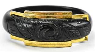 Vintage 1940s Carved Bakelite Gilt Metal Bracelet