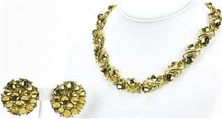 Vintage Trifari Cabochon Rhinestone Jewelry Suite