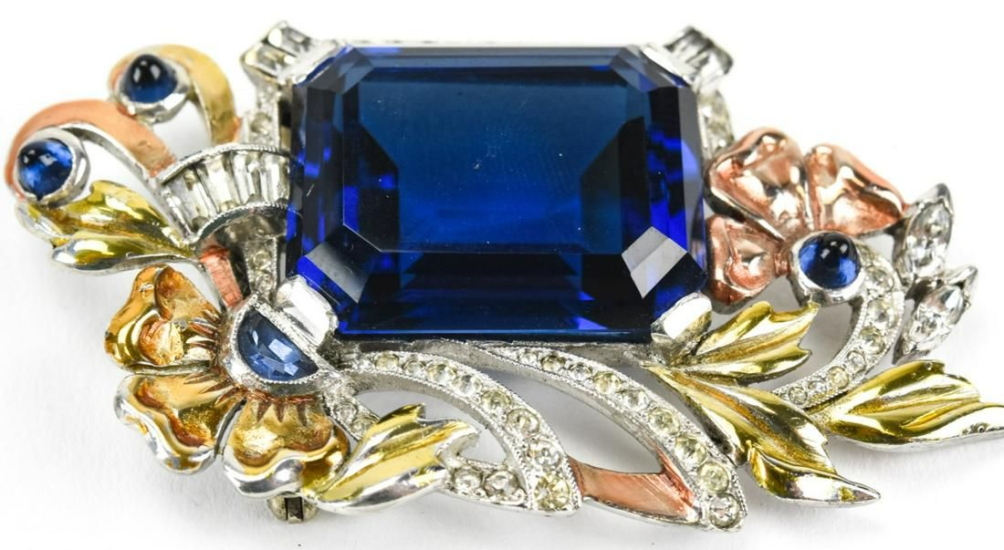 Vintage Unsigned Sapphire Crystal Brooch