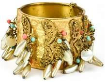 Vintage Miriam Haskell Gilt Metal Fringe Bracelet