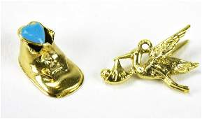 Two Vintage 14kt Yellow Gold Charms