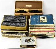 Box Lot of Vintage Record Albums / LPs & 45s
