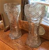 Two Antique Brilliant Cut Crystal Vases