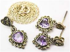 Sterling Silver Amethyst  Marcasite Jewelry Suite
