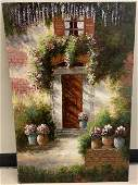 Signed Oil Painting of a Cottage W Flowers