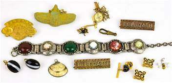 Group Antique & Vintage Costume Jewelry & Medals