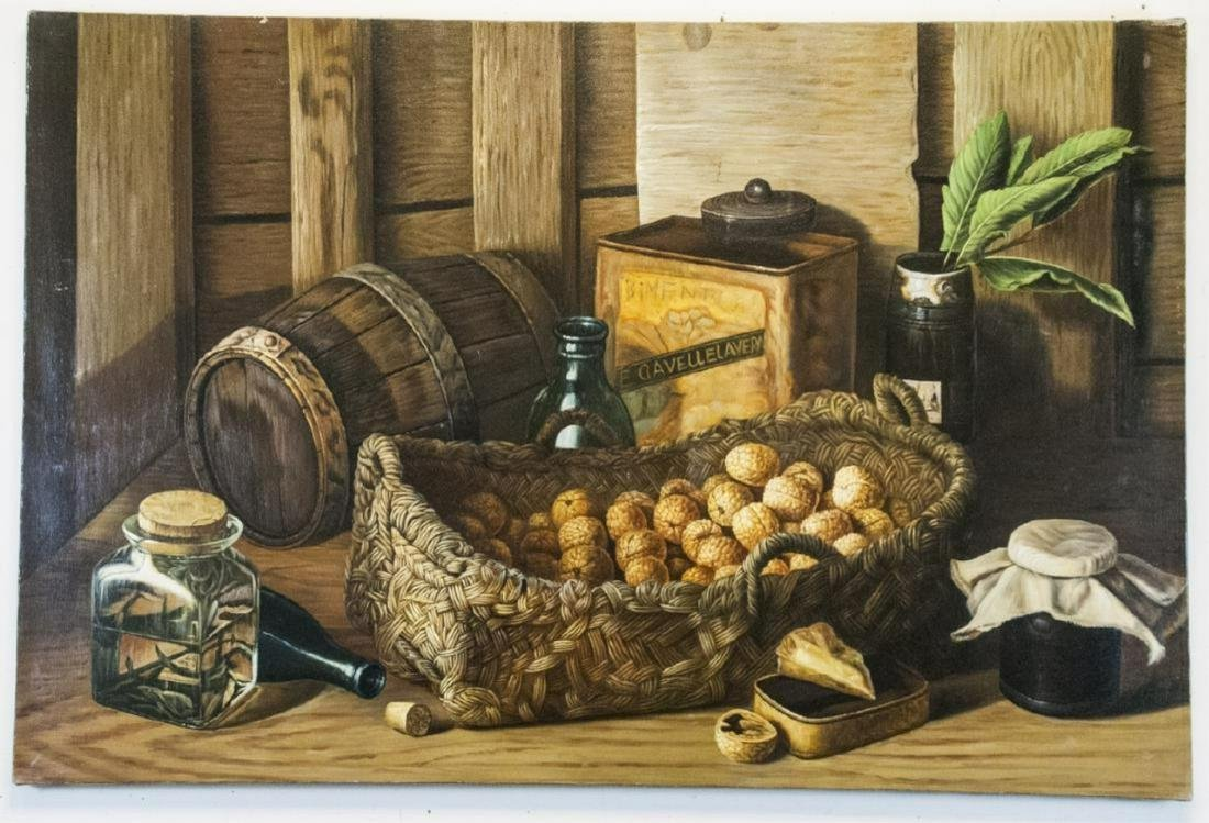 Oil on Canvas, Basket of Walnuts Still Life Signed