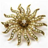 Antique 14kt Gold Diamond & Seed Pearl Pendant