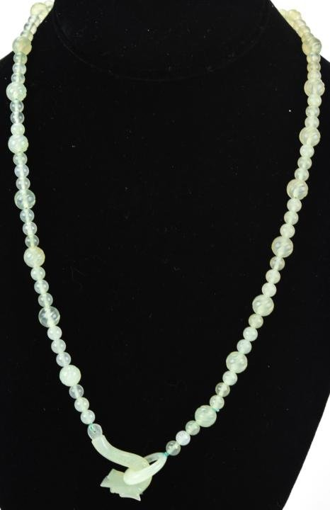 Antique Chinese Carved Jade Dragon Necklace