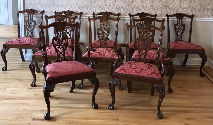 Set of Hickory Chair Carved Mahogany Dining Chairs