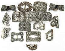 Large Collection of 19th C Cut Steel Buckles